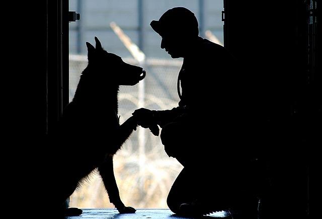 voják se psem